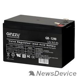 батареи Ginzzu Батарея GB-1290 (RTL) свинцово-кислотный, необслуживаемый, технология AGM, 12В / 9Ач,  клемма 5/7мм