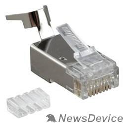 """Монтажное оборудование Hyperline PLUG-8P8C-UV-C6-TW-SH Разъем RJ-45(8P8C) ,  экранированный, со вставкой, категория 6(50 µ""""/ 50 микродюймов), универсал.(для однож. и многожил/ кабеля),для толстых жил1.35-1.5 мм"""