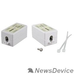 Монтажное оборудование Hyperline CA-IDC-C5e-WH Проходной адаптер (coupler), Dual IDC (110&Krone), категория 5e, 4 пары