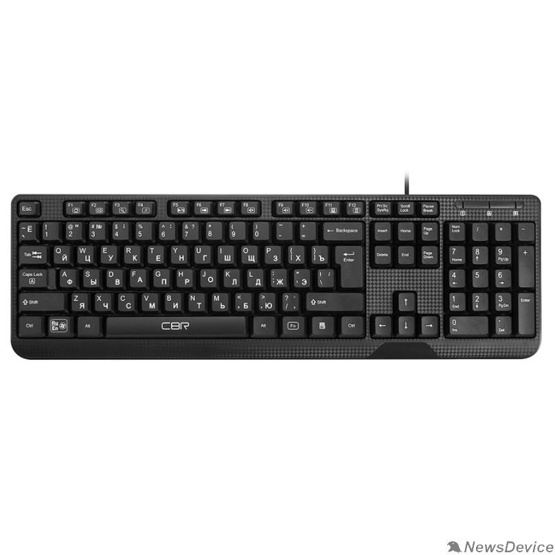 Клавиатура CBR KB 103 Black USB, Клавиатура, перекл. языка 1 кнопкой (софт.), 12 доп. мультимедия ф-ций