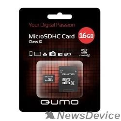Карта памяти  Micro SecureDigital 16Gb QUMO QM16GMICSDHC10U1 MicroSDHC Class 10 UHS-I, SD adapter