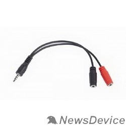 Кабель Кабель аудио сигнала Gembird джек 3.5 4pin->джек3.5 стерео + 3.5 микрофон моно, длина 20с, черный CCA-417