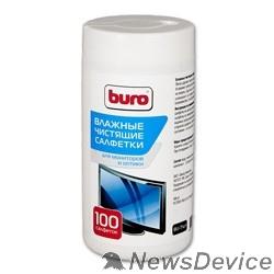 Чистящие средства Салфетки BURO BU-Tscrl для экранов ЭЛТ мониторов/плазменных/ЖК телевизоров/мониторов с покрытием из стекла туба 100шт влажных 817440