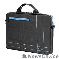 Сумка для ноутбука Сумка Continent  CC-201 GB(нейлон, серый с голубой отстрочкой, 15,6'')