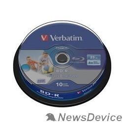 Диск VERBATIM BD-R 25 GB 6x CB/10 Full Ink Print NO ID (43804)