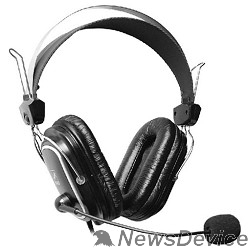 Наушники A4Tech HS-50,Черный(серебристые вставки) Гарнитура  стерео, монитор типа, закрытые, рег громкости, 20-20000Гц 32 Ом 97дБ, микр подвижн,  кабель 2, 3.5 jack 3 pin