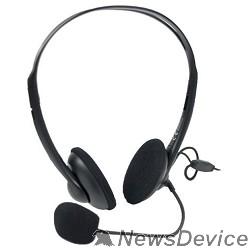 Наушники A4Tech HS-6, Черный Гарнитура стерео, наклад, рег громкости на проводе, 20-20000Гц 32 Ом 97дБ, микр подвижной 97дБ, кабель 2, 3.5 jack 3 pin