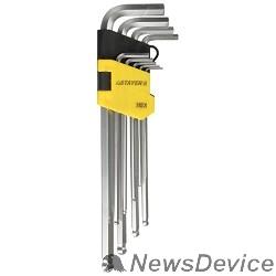 """Ручной инструмент Набор STAYER (2741-H9-2) Ключи """"MASTER"""" имбусовые длинные с шариком, Cr-V, сатинир. покрытие, пластик. держатель, HEX 1,5-10мм, 9 пр"""