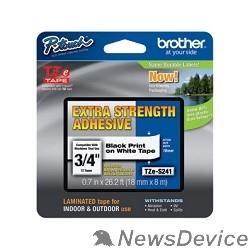 Расходные материалы Brother TZE-S241 Картридж с лентой (P-Touch, 18мм, Черный на белом)(TZES241)