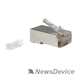 """Монтажное оборудование Hyperline PLUG-8P8C-UV-C6-SH Разъем RJ-45(8P8C) под витую пару, категория 6 (50 µ""""/ 50 микродюймов), экранированный, универсальный (для одножильного и многожильного кабеля), со вставкой 1шт"""