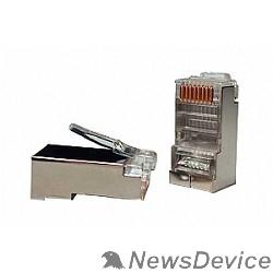 """Монтажное оборудование Hyperline PLUG-8P8C-U-C5-SH-100 Разъем RJ-45(8P8C) под витую пару, категория 5e (50 µ""""/ 50 микродюймов), экранированный, универсальный (для одножильного и многожильного кабеля) (100 шт)"""