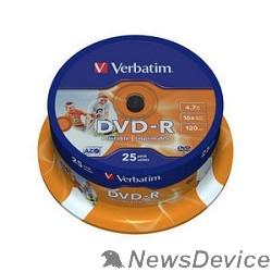 Диск Verbatim  Диск DVD-R  4,7Gb 16x Cake Box Printable (25шт) (43538)