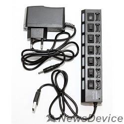 USB-концентраторы 5bites HB27-203PBK Концентратор 7*USB2.0 / БП 5В-2А / 1M / BLACK