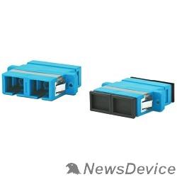 Монтажное оборудование Hyperline FA-P11Z-DSC/DSC-N/BK-BL Оптический проходной адаптер SC/UPC-SC/UPC, SM, duplex, корпус пластиковый, синий, черные колпачки