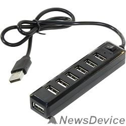 Контроллер ORIENT KE-720  USB 2.0 HUB 7 Ports, c БП-зарядником 1xUSB (5В, 1А), выключатель, мини корпус, черный