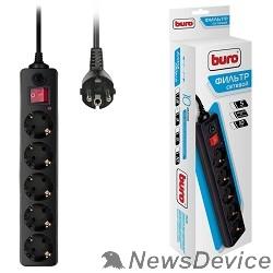 Сетевые фильтры BURO Сетевой фильтр, 5 розеток, 3 метра, (500SH-3-B), черный (коробка) 992293