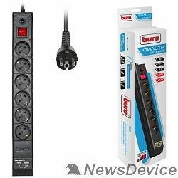 Сетевые фильтры BURO Сетевой фильтр, 6 розеток, 5 метров, (BU-SP5_USB_2A-B), черный (коробка) 992320