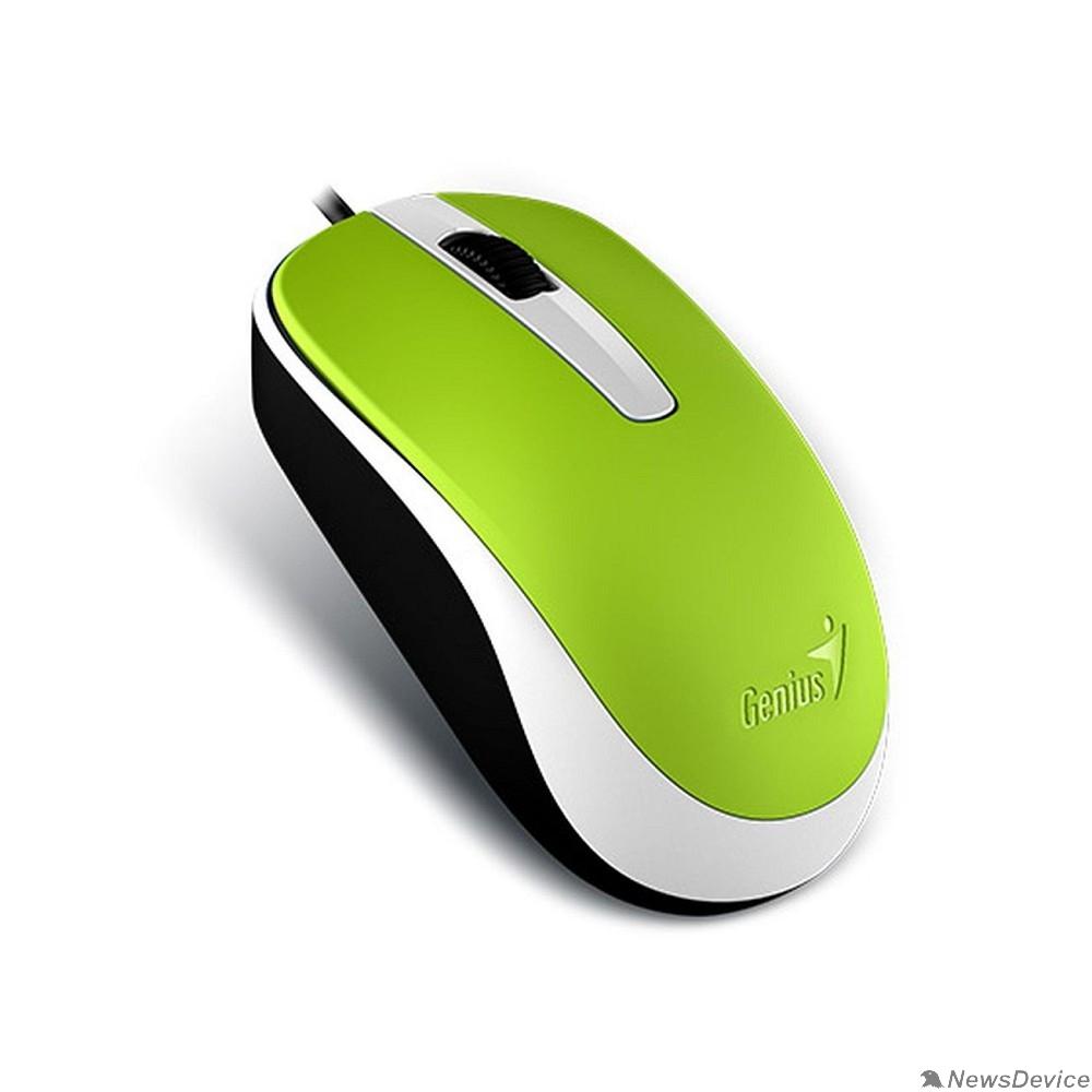 Мышь Genius Мышь DX-120 Green  оптическая, 1000 dpi, 3 кнопки+колесо прокрутки, провод 1,5 м, USB 31010105105/31010010404