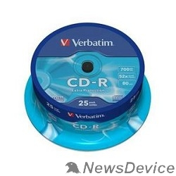 Диск Verbatim  Диски CD-R  25 шт. 52-x 700Mb, Cake Box (43432)