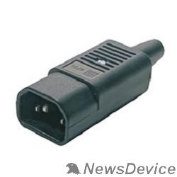 Монтажное оборудование Hyperline CON-IEC320C14 Разъем IEC 60320 C14 220В 10A на кабель (плоские выступающие штыревые контакты в пластиковом обрамлении), прямой