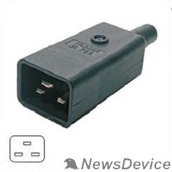 Монтажное оборудование Hyperline CON-IEC320C20 Разъем IEC 60320 C20 220В 16A на кабель, контакты на винтах (плоские выступающие штыревые контакты в пластиковом обрамлении), прямой