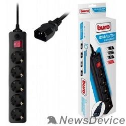 Сетевые фильтры BURO Сетевой фильтр, 5 розеток, 1.8 метра, (500SH-1.8-UPS-B) черный (коробка) 992305