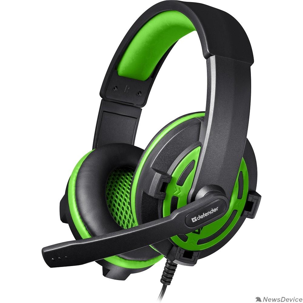 Наушники Defender Warhead G-300 зеленый, кабель 2,5 м 64128