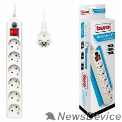 Сетевые фильтры BURO Сетевой фильтр, 6 розеток, 5 метров, (600SH-5-W), белый (коробка) 992275