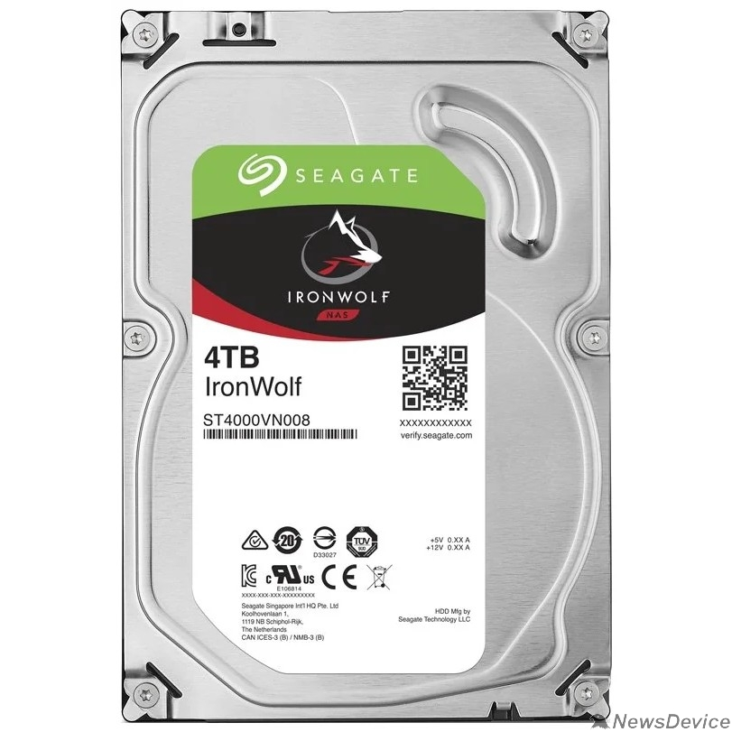 "Жесткий диск 4TB Seagate Ironwolf (ST4000VN008) SATA 6.0Gb/s, 5900 rpm, 64mb buffer, 3.5"",для NAS"