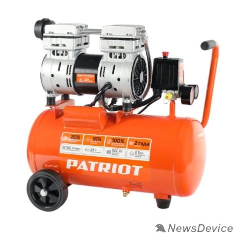 Компрессоры, Пневматическое оборудование PATRIOT WO 24-160 Компрессор 525306375 Безмасляный; Мощн. 1,1 кВт; Напр. 230В Об. двиг.: 2850 об/мин; Производительность: 160 л/мин; Объем ресивера: 24 л; Давление: 8 бар