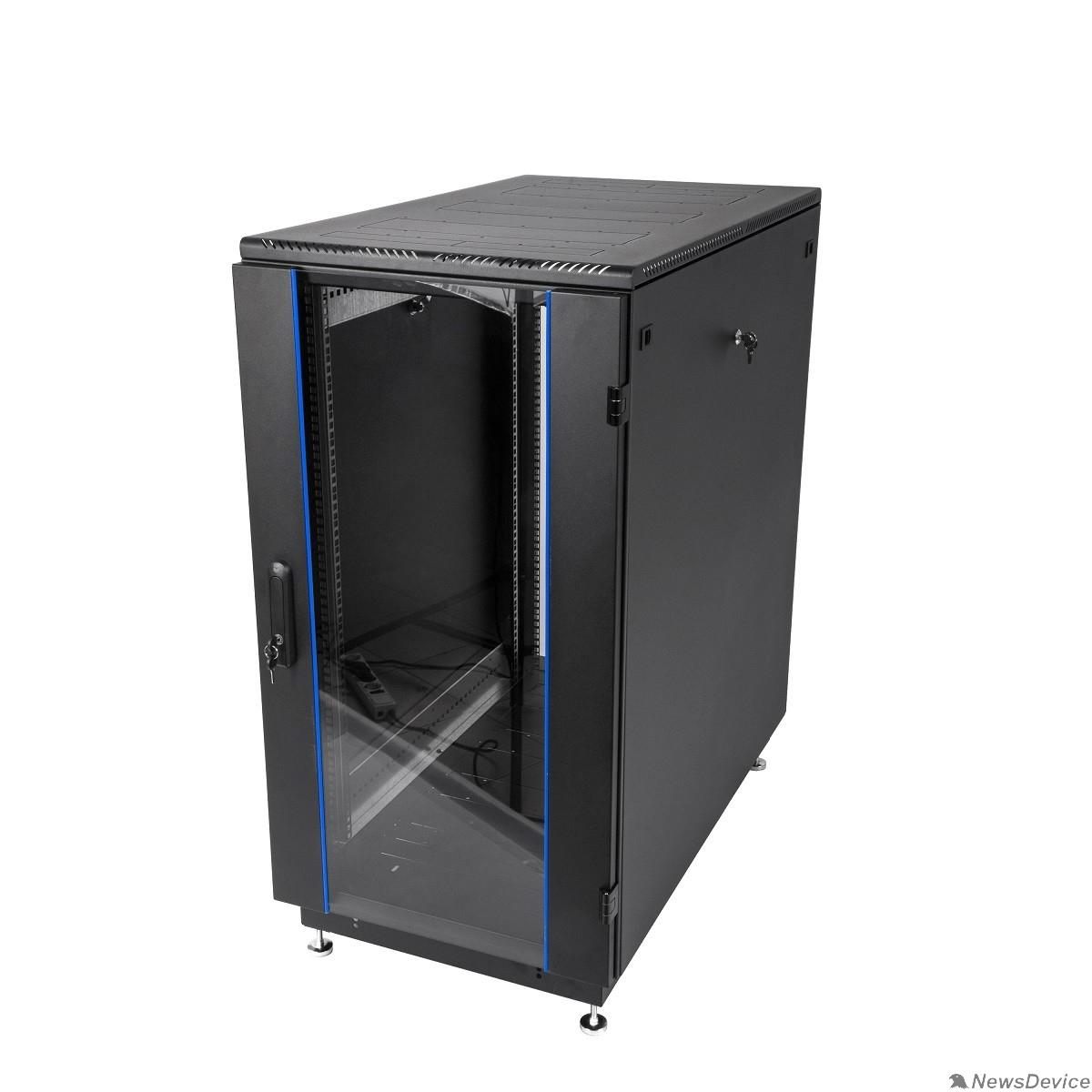 Монтажное оборудование ЦМО Шкаф телекоммуникационный напольный 22U (600x600) дверь стекло, цвет чёрный (ШТК-М-22.6.6-1ААА-9005) (2 места)