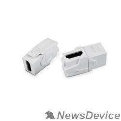 Монтажное оборудование Hyperline KJ1-HDMI-AV18-WH Вставка формата Keystone Jack с проходным адаптером HDMI (Type A), 90 градусов, ROHS, белая