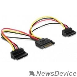 Кабель Gembird/Cablexpert Кабель питания SATA, 15см, 15pin (M)/2x15pin(F) на 2 SATA устройства, угловой разъем (CC-SATAM2F-02)