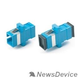 Монтажное оборудование Hyperline FA-P11Z-SC/SC-N/BK-BL Оптический проходной адаптер SC-SC, SM, simplex, корпус пластиковый, синий, черные колпачки