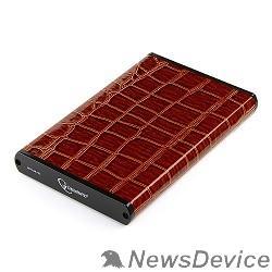 "Контейнер для HDD Gembird EE2-U3S-70L-BR Внешний корпус 2.5"" , коричневый, USB 3.0, SATA, металл+кожзам, блистер"