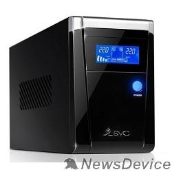 ИБП SVC, V-1500-F-LCD ИБП, Л-И., 1500ВА/900Вт, Вход:220В, AVR:165-275В, Вых.:220В±10%, 50/60±0.5Гц, АКБ 2*12В/9Ач,