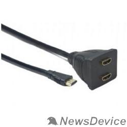 Разветвитель Cablexpert DSP-2PH4-002 Разветвитель HDMI Cablexpert DSP-2PH4-002, HD19F/2x19F, 1 компьютер => 2 монитора, пассивный, Full-HD, 3D, 1.4v
