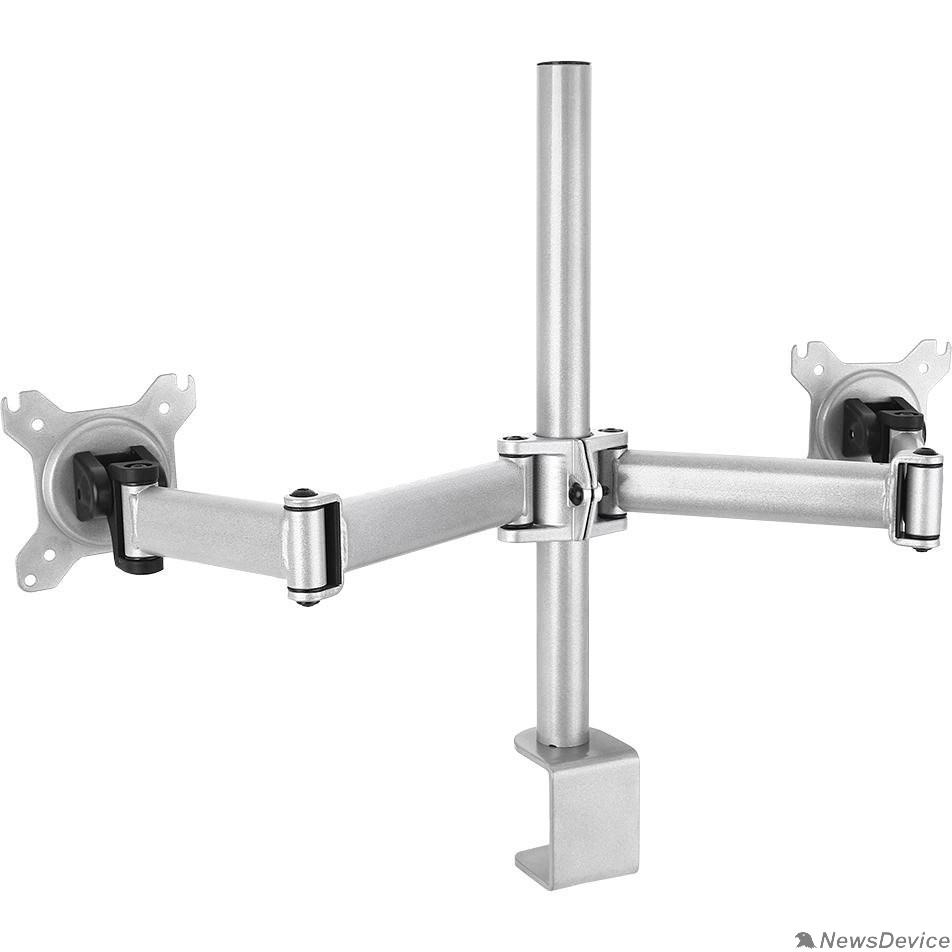 """Крепления для проекторов Cactus CS-VM-D29-AL серебристый Кронштейн для 2-х мониторов 13""""-27"""" макс.8кг настольный поворот и наклон"""