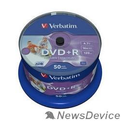 Диск Verbatim  Диски DVD+R  4.7Gb 16-х, Wide Photo InkJet Printable,  50 шт, Cake Box (43512 )