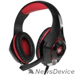 Наушники CROWN CMGH-102T Black&red (Подключение USB, встроенная аудио карта, Частотныи? диапазон: 20Гц-20,000 Гц ,Кабель 2.1м,Размер D 250мм)
