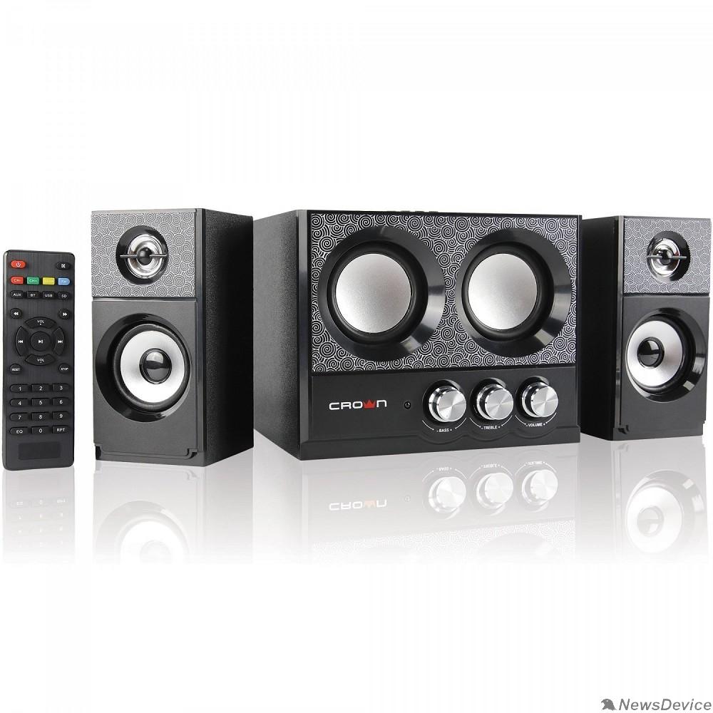 Колонки Акустическая система 2.1 CROWN CMBS-161 (МДФ, Bluetooth, 8W+4W*2=16W; приёмник FM; картридер; интерфейс USB; IR пульт)