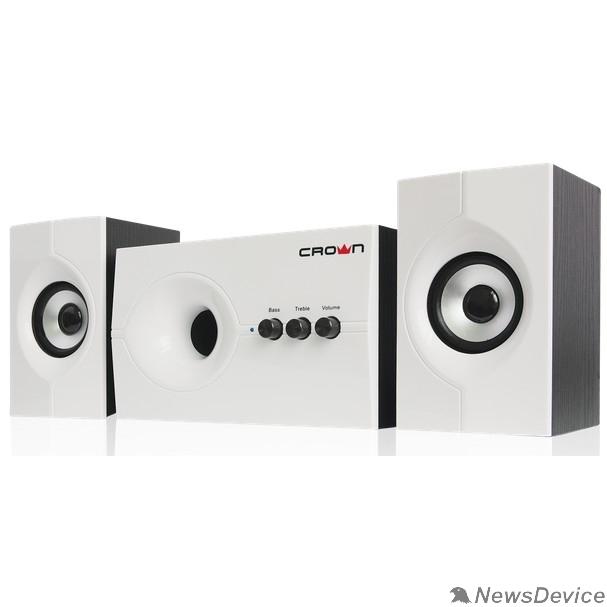 Колонки Акустическая система 2.1 CROWN CMS-350 ( Белая лицевая панель; МДФ, 15W+10WX 2=35W,Длина кабеля питания и аудио кабеля 2м;,Управление: питание, громкость, басс, высокие частоты.)