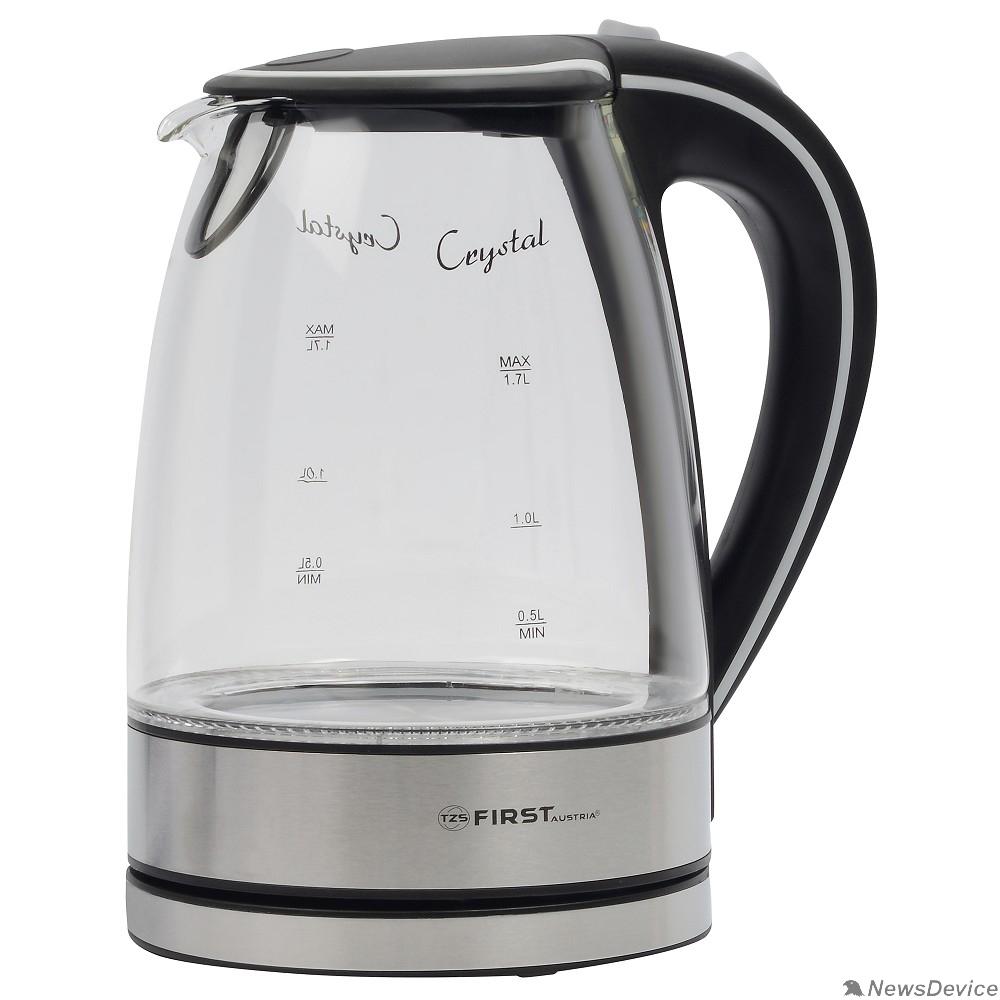 Чайник FIRST FA-5406-2-BA Чайник, стеклянный, 1.7 л,  подсветка, цвет: чёрный