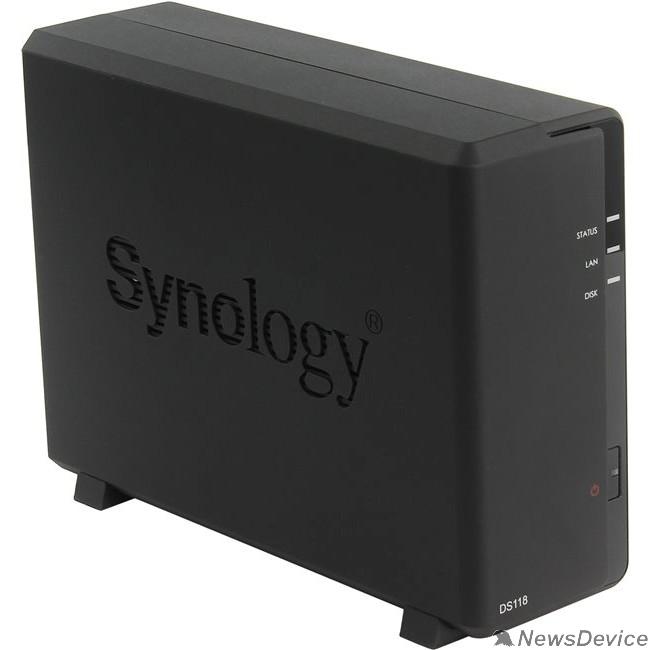 Дисковый массив Synology DS118 Сетевое хранилище 1xHDD DC1,4GhzCPU/1Gb,  SATA(3,5'')/2xUSB3.0/1GigEth/iSCSI/2xIPcam(upto 15)/1xPS