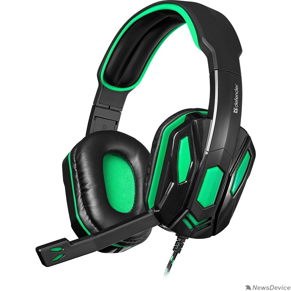 Наушники Defender Warhead G-275 зеленый + черный, кабель 1,8 м 64122