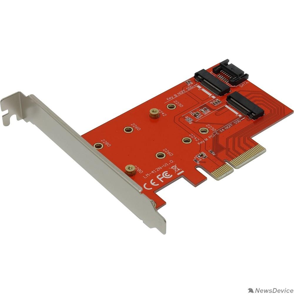 Контроллер Espada Контроллер PCI-E x4, 2 порта M.2 NGFF (B+M key) (PCIe2NGFF) (42043)