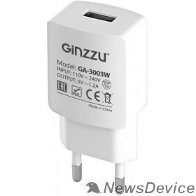 Аксессуар GINZZU GA-3003W, СЗУ 5В/1200mA, USB, белый