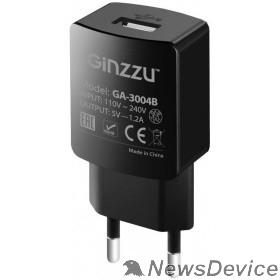 Аксессуар GINZZU GA-3004B, СЗУ 5В/1,2A, USB, черный, + кабель микро USB 1,0м