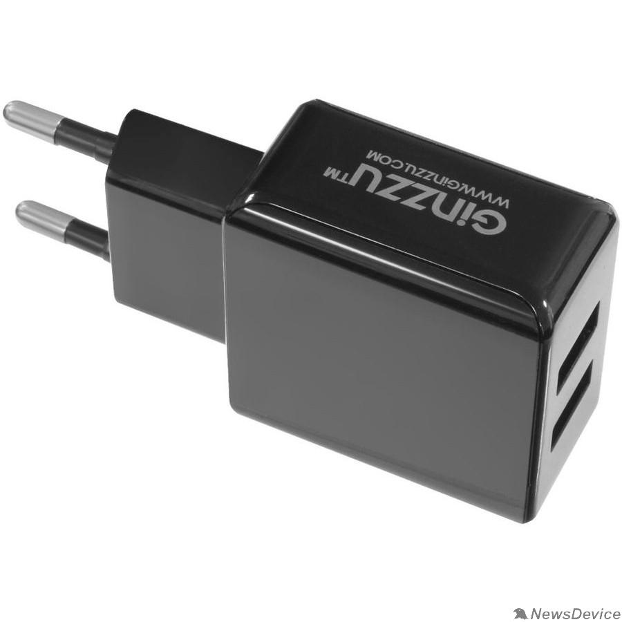 Аксессуар GINZZU GA-3312UB, СЗУ 5В/3.1A/2USB + Дата-кабель микро USB 1,0м, черный