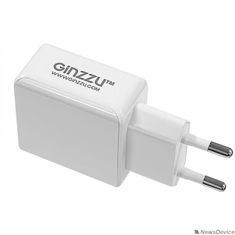 Аксессуар GINZZU GA-3313UW, СЗУ 5В/3.1A/2USB + Дата-кабель 8pin APPLE, 1,0м, белый